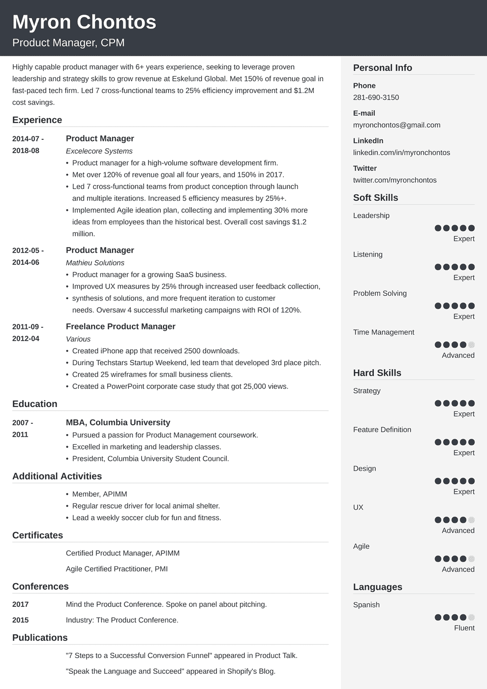 senior product manager resumes
