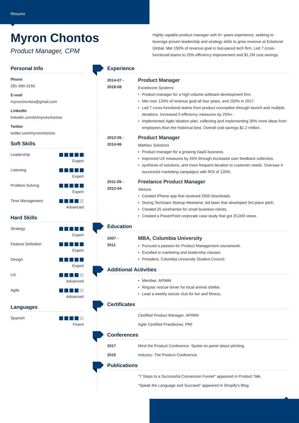 Product Manager Resume: Sample and Complete Guide [+20 Examples]