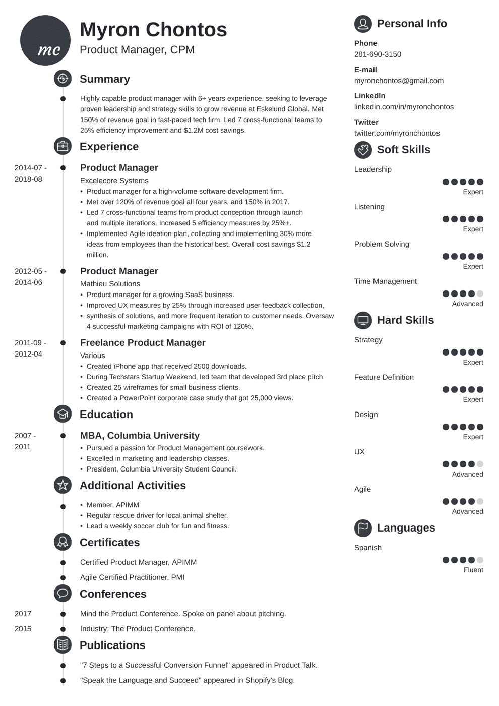 Product Manager Resume Sample And Complete Guide 20 Examples
