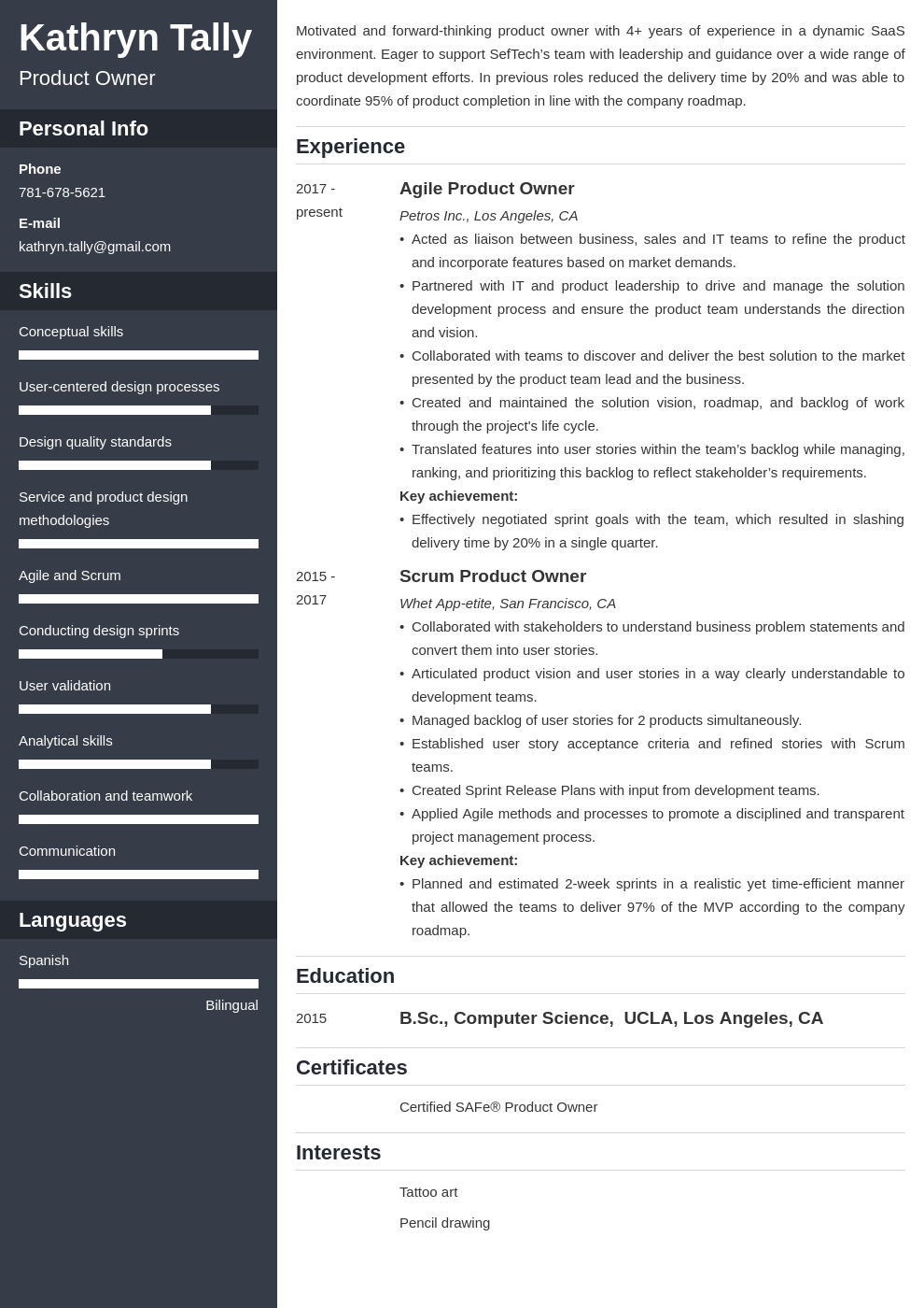 product owner resume example template cascade