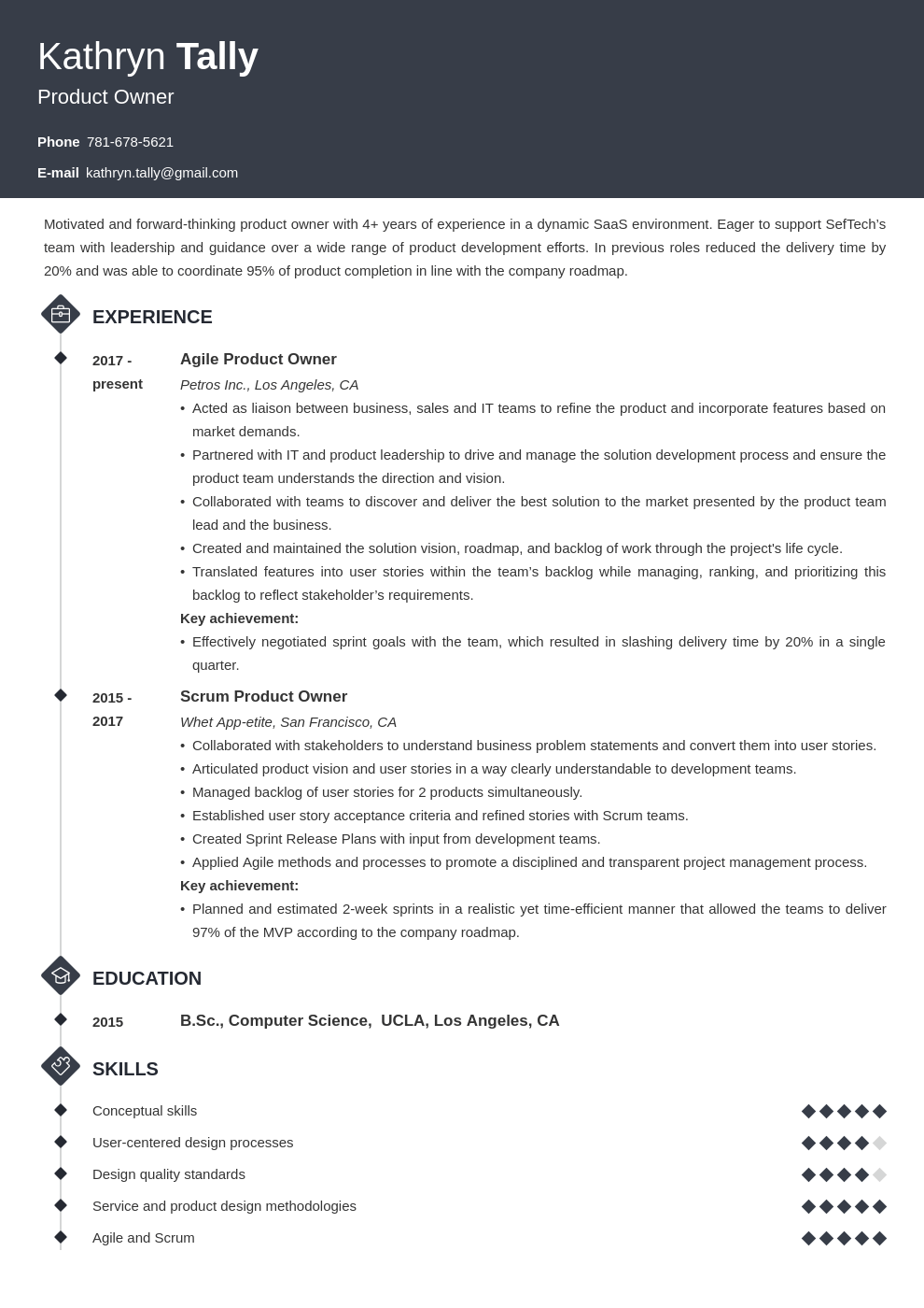 product owner resume example template diamond