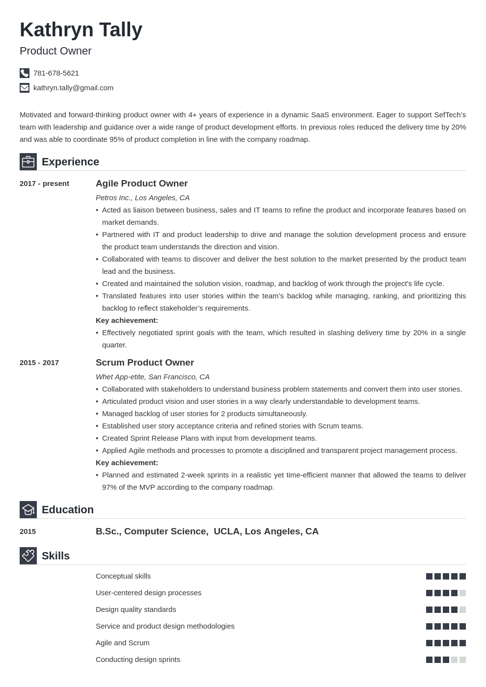 product owner resume example template iconic