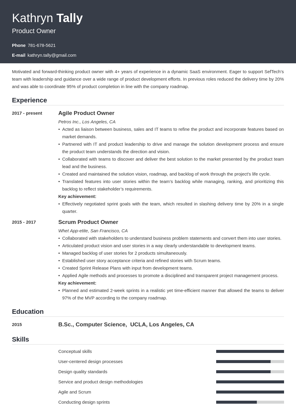 product owner resume example template influx