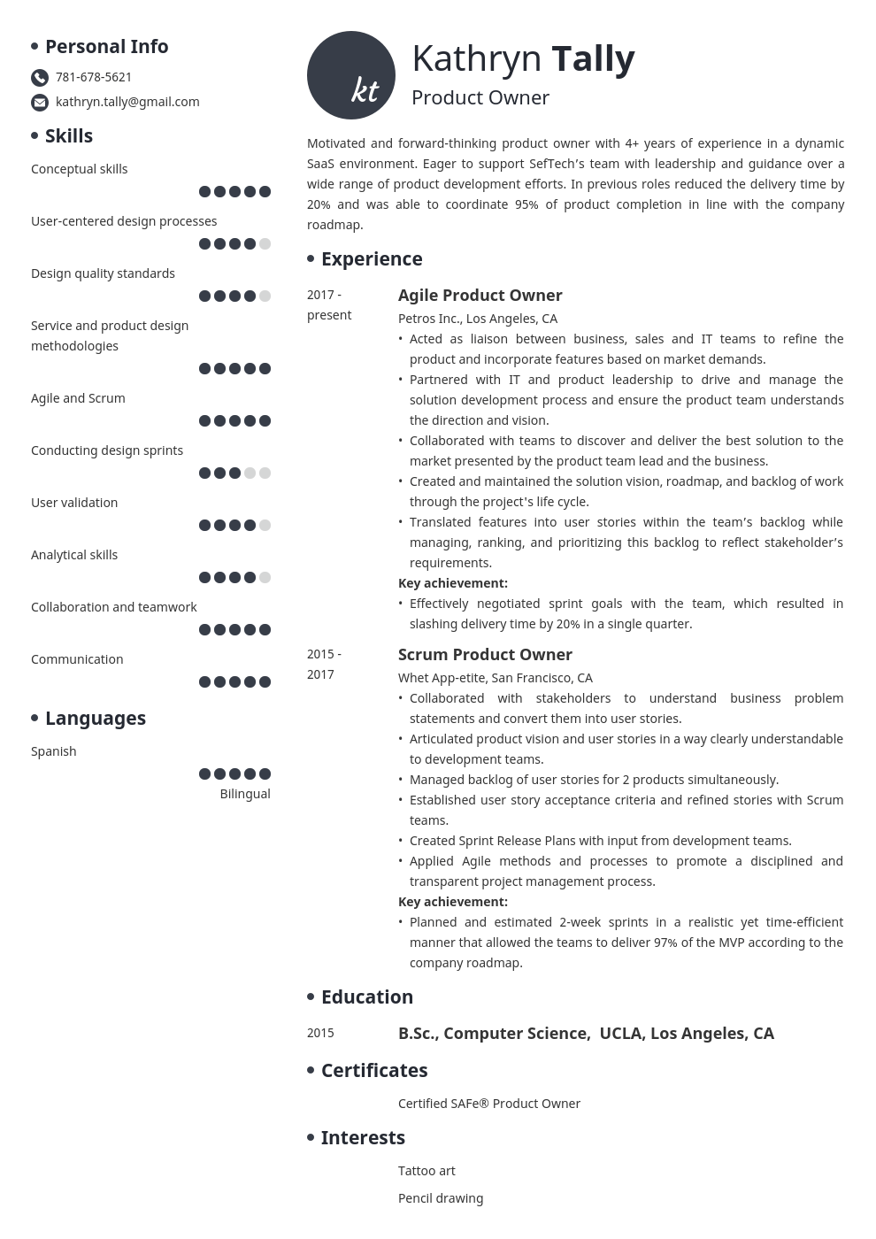 product owner resume example template initials