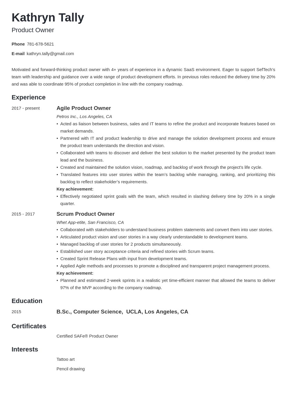 product owner resume example template minimo