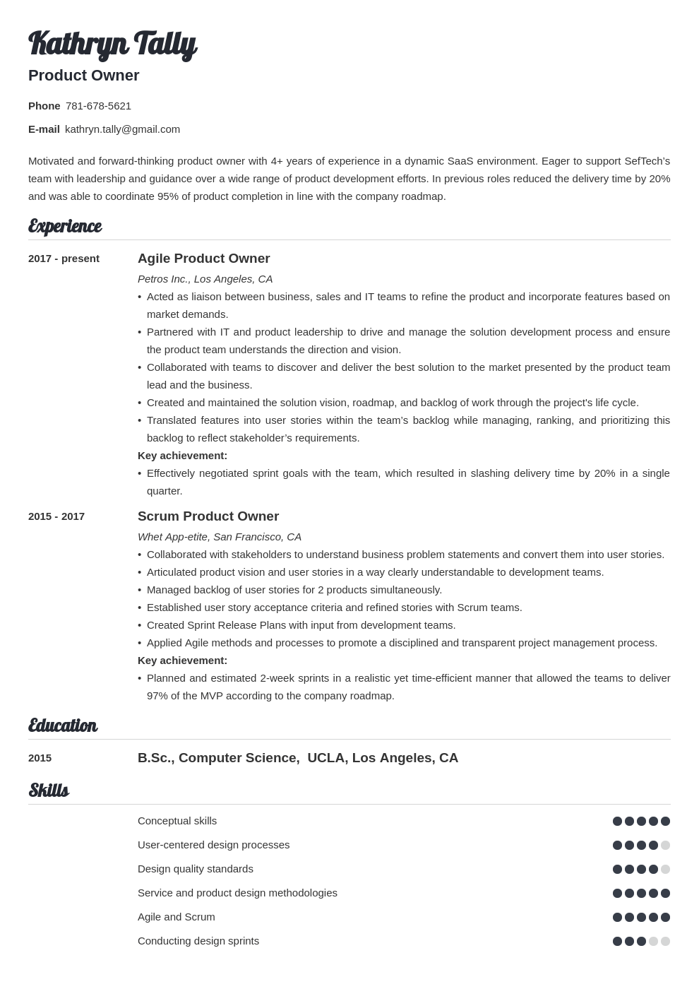 product owner resume example template valera