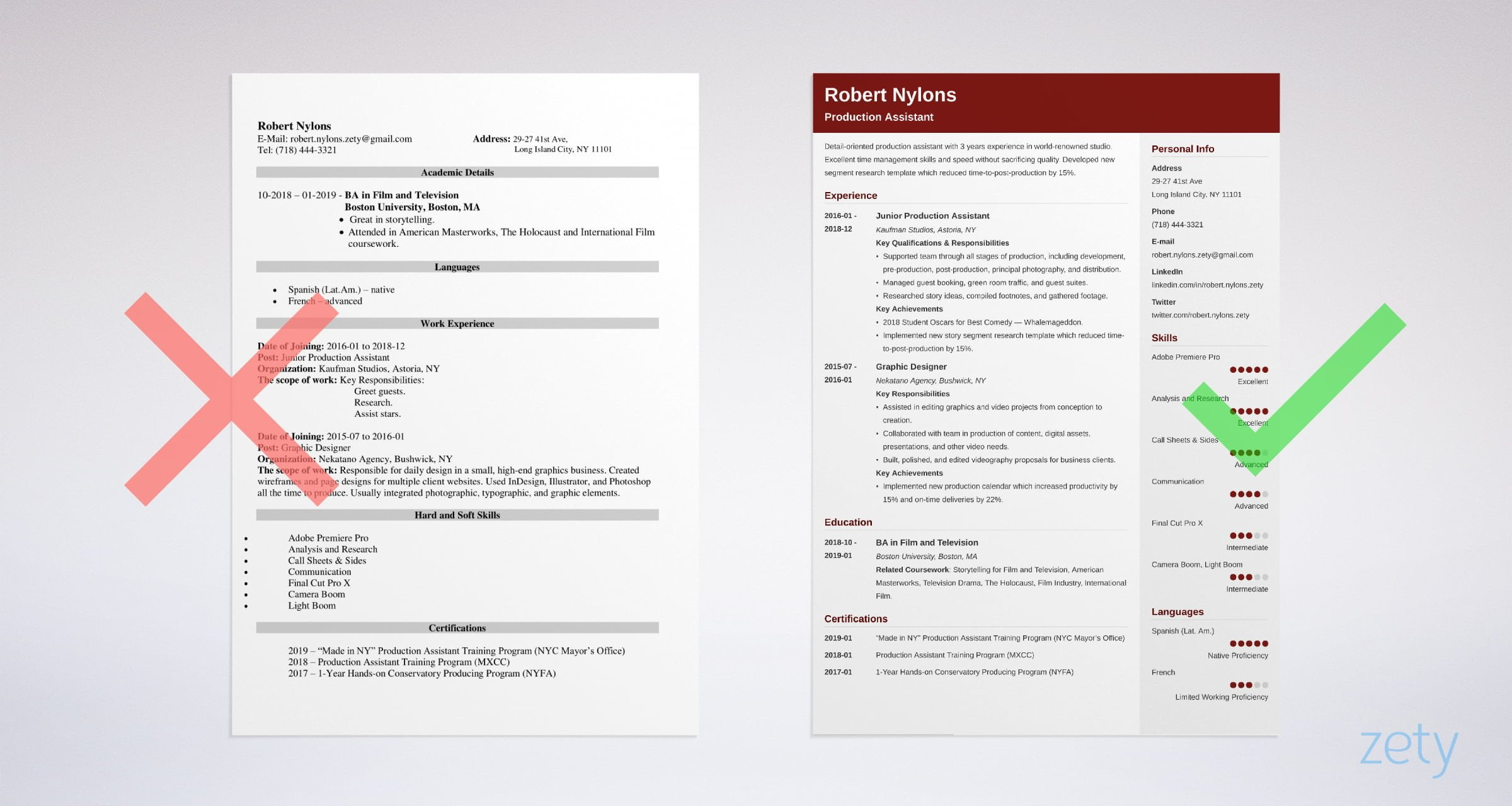 Production Assistant Resume Templates