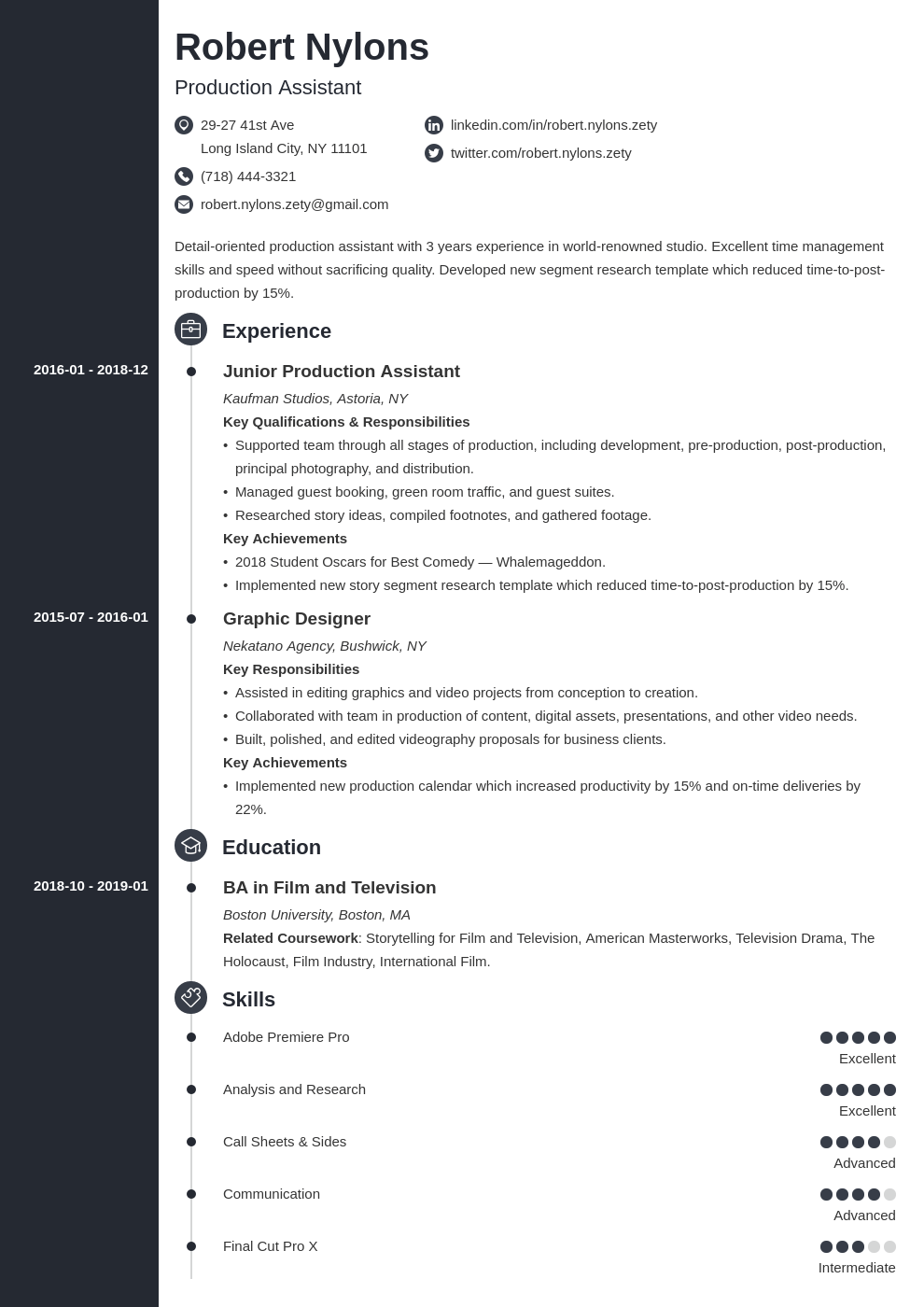 production assistant resume example template concept
