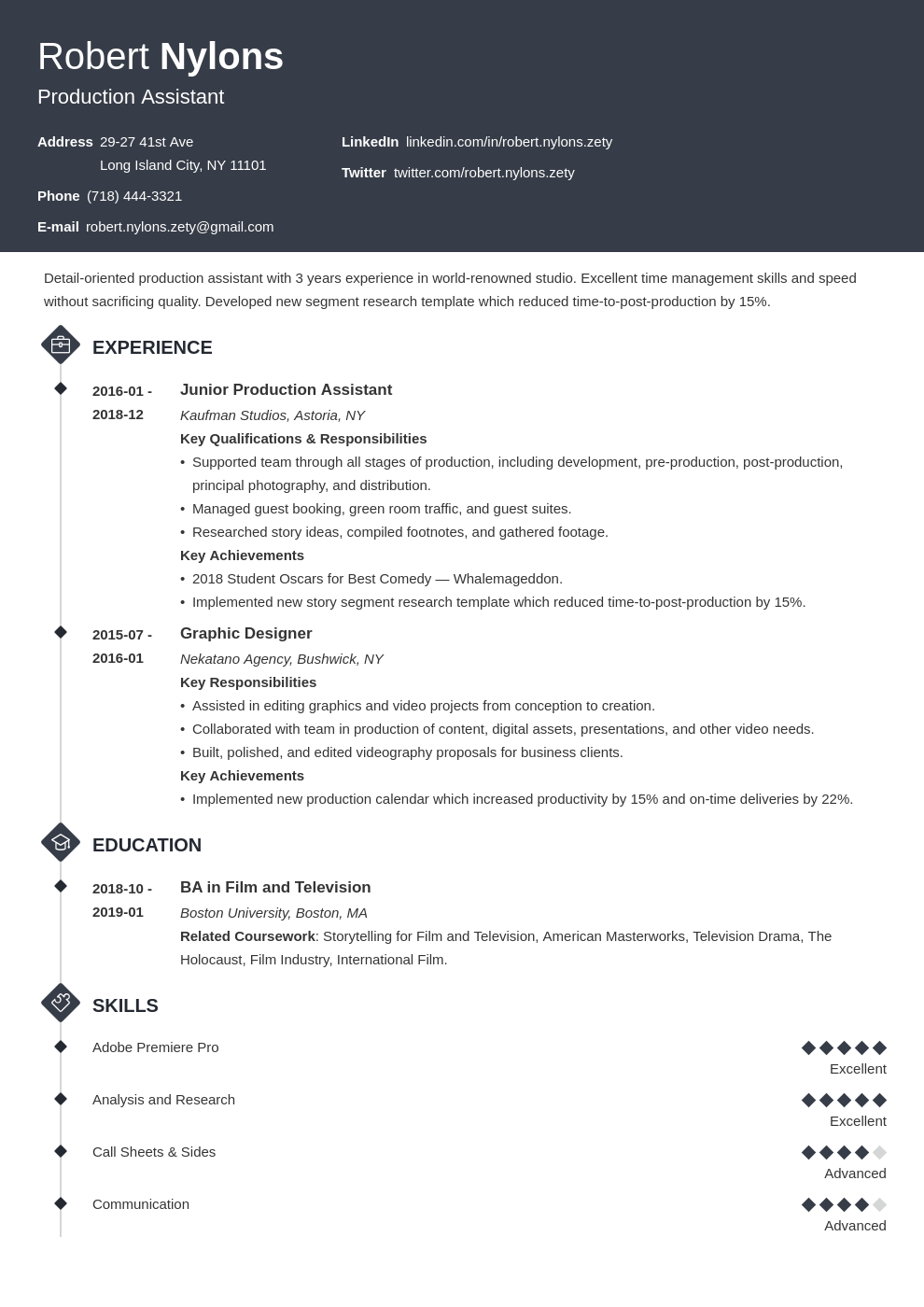 production assistant resume example template diamond