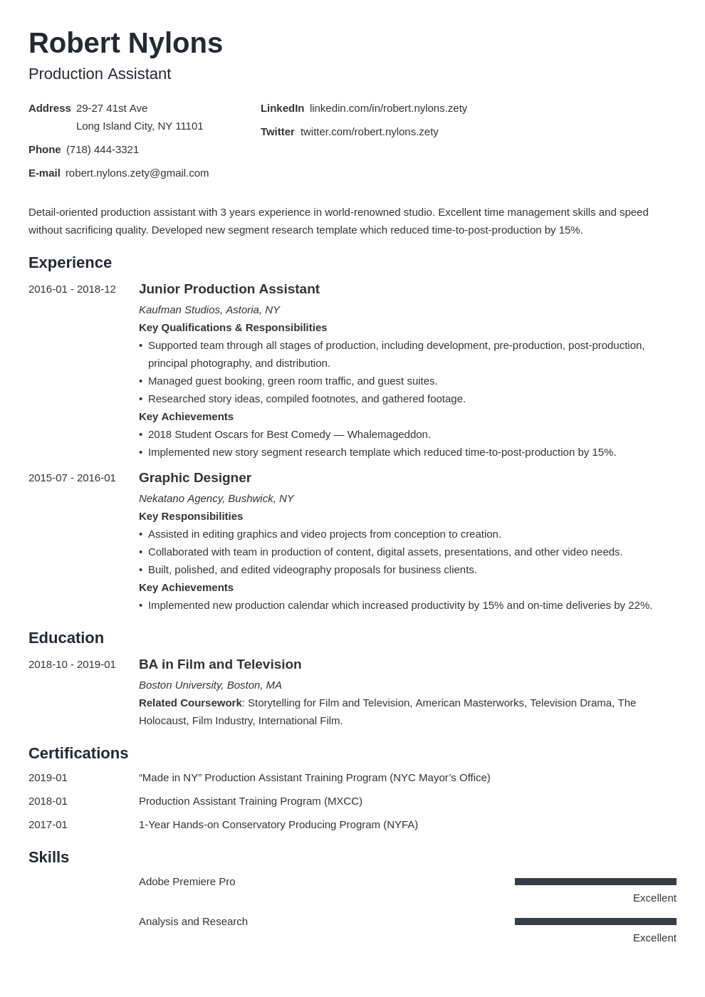 production assistant resume example template minimo