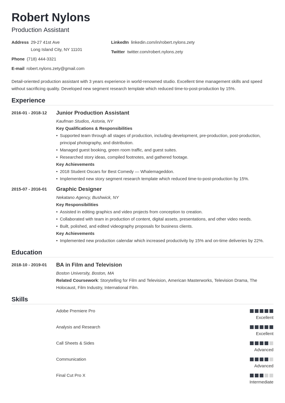 production assistant resume example template nanica