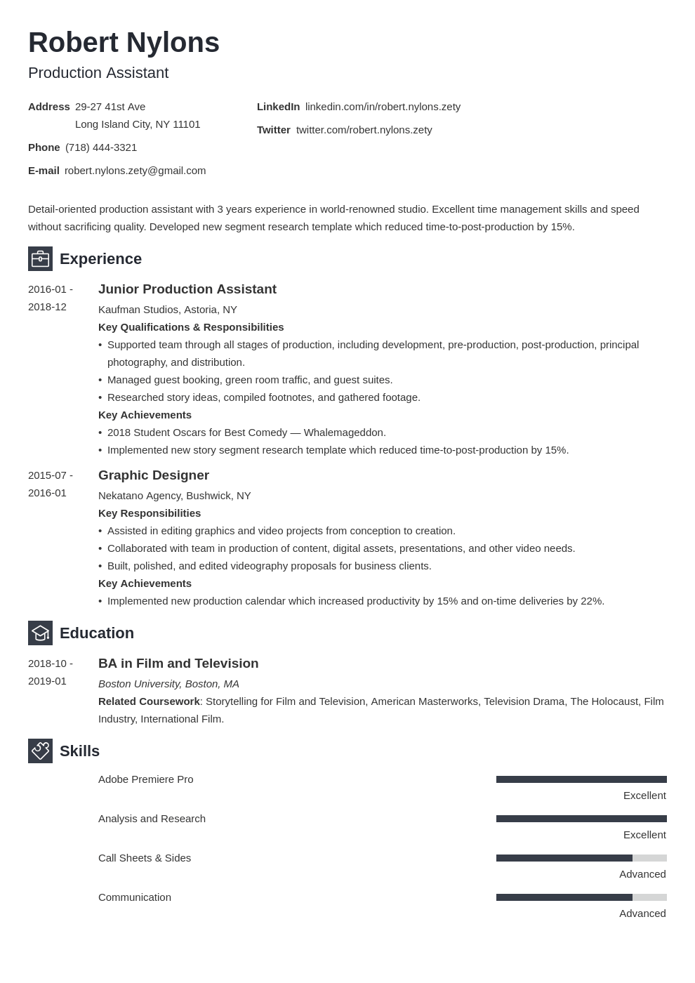 production assistant resume example template newcast