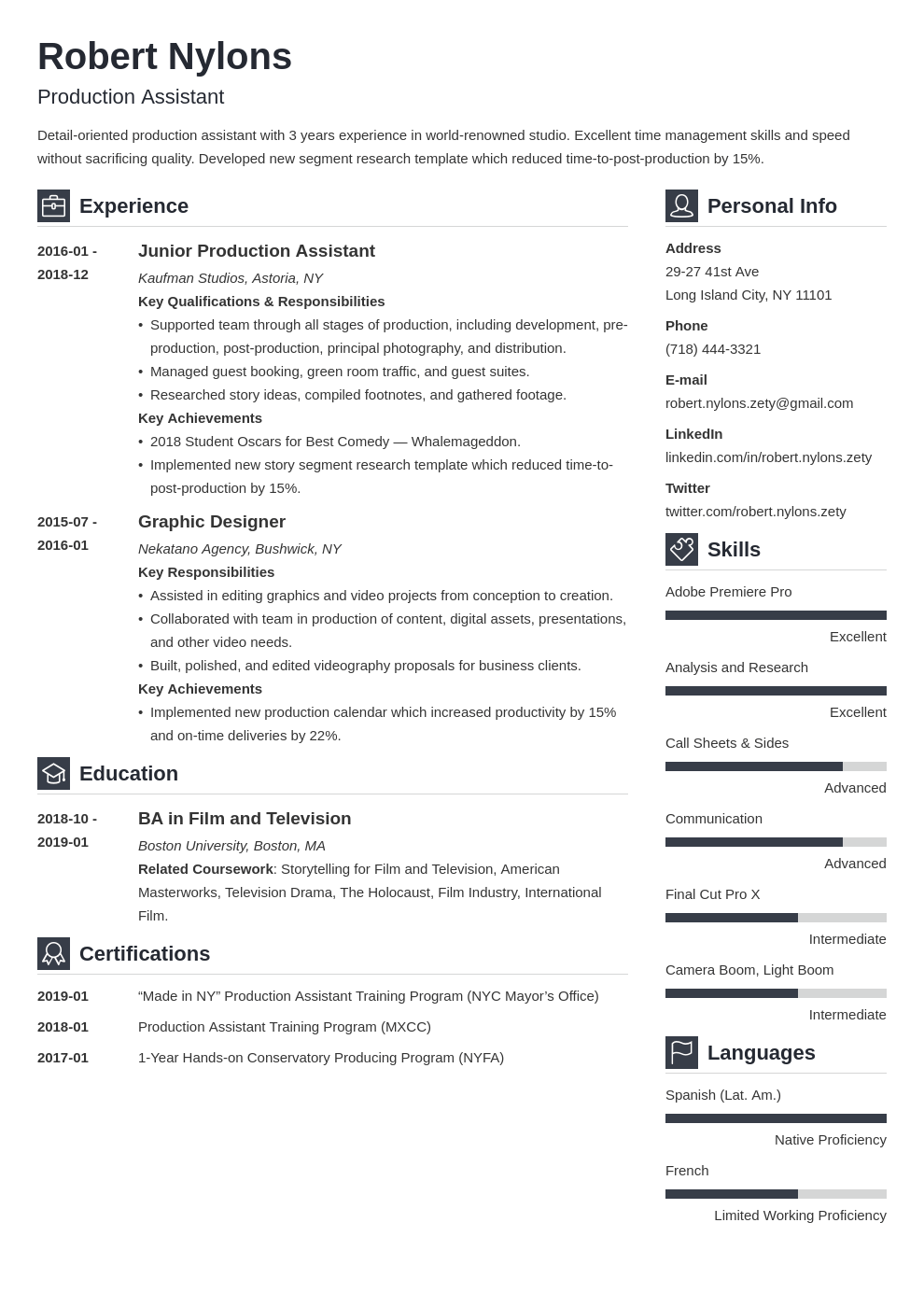 production assistant resume example template vibes