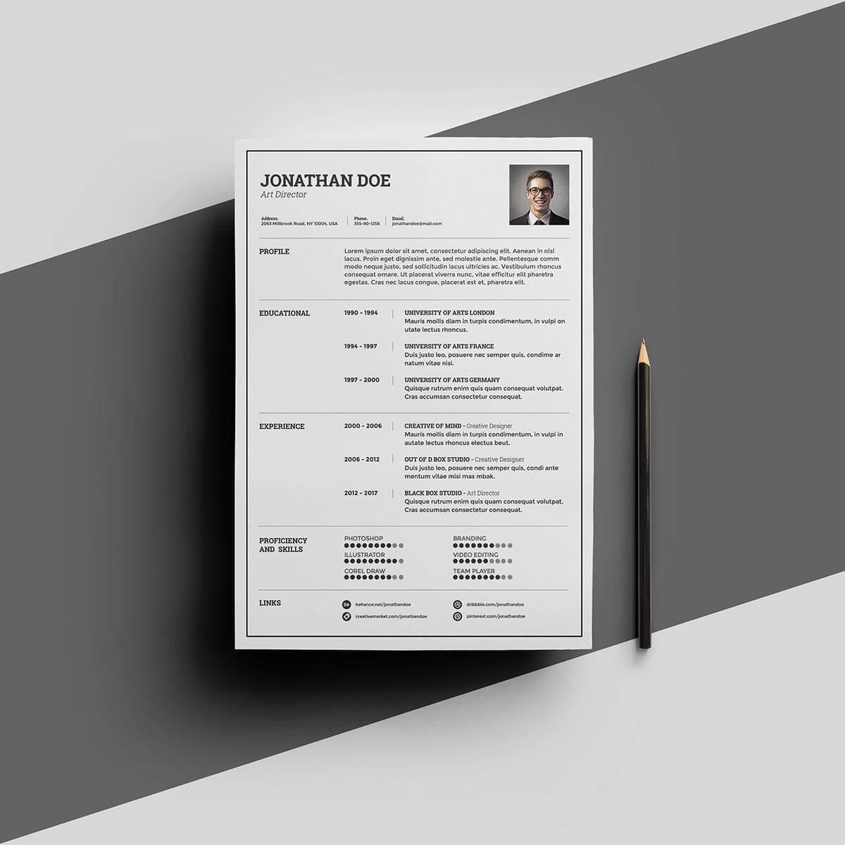 professional resume design with border