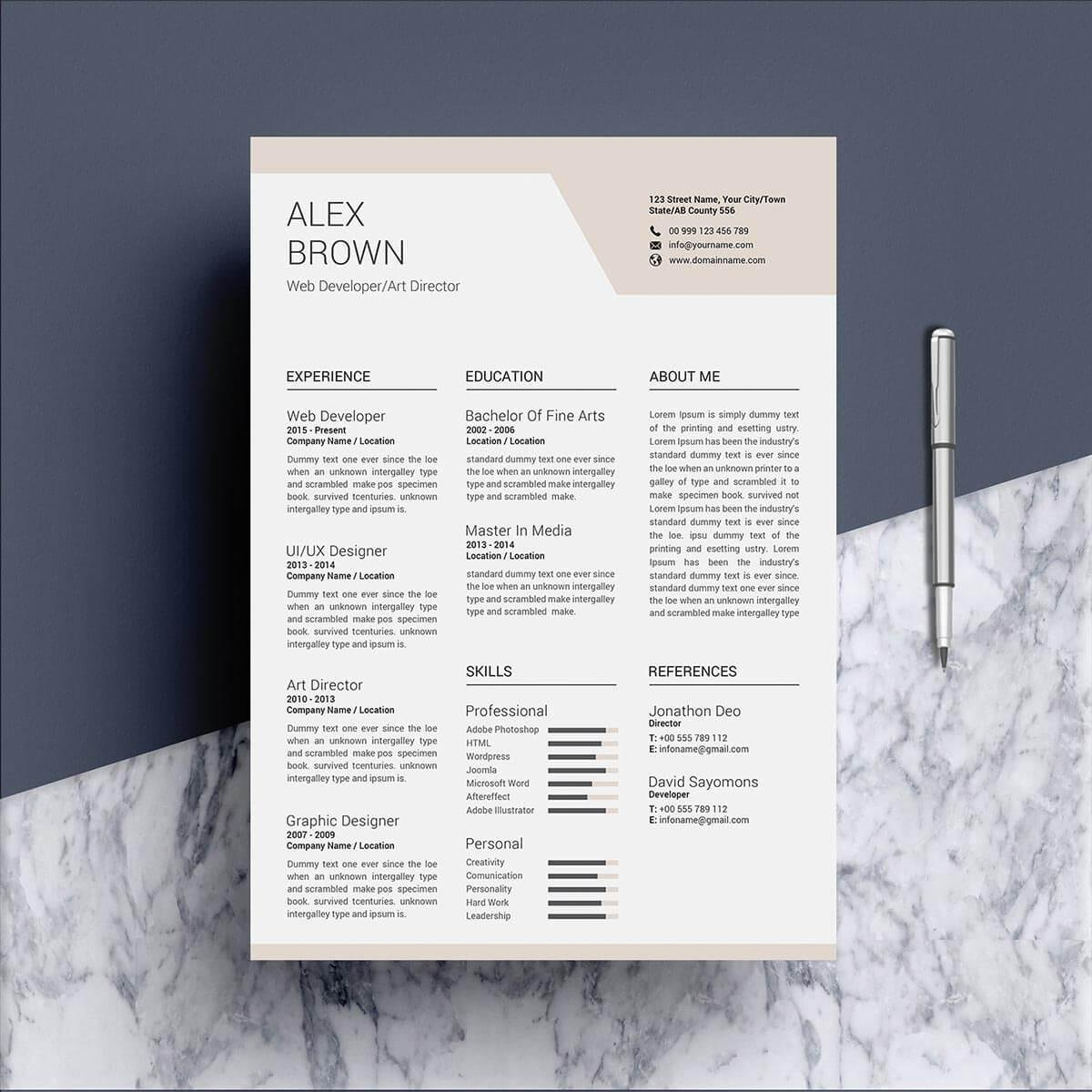 Professional Resume Templates 15 to Download and