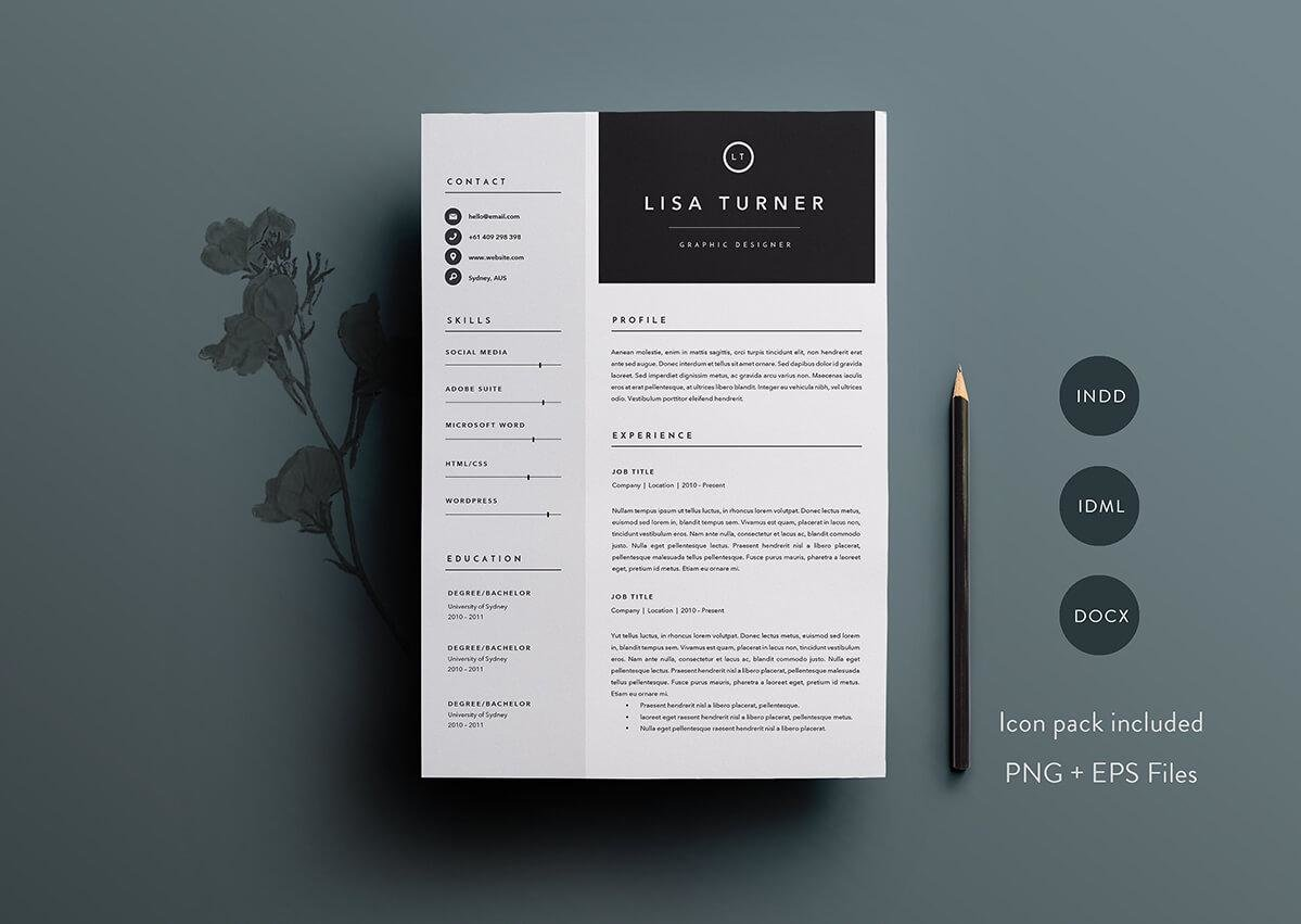 professional resume template with sidebar and big header