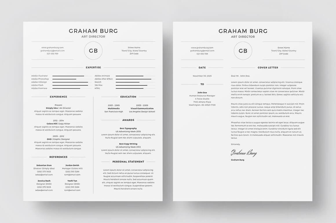 set of professional resumes with initials