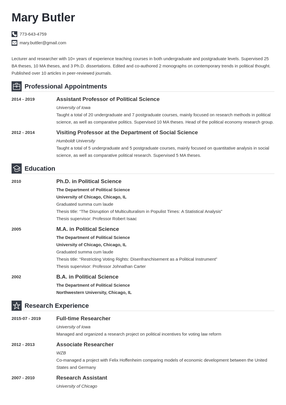 professor cv example template iconic