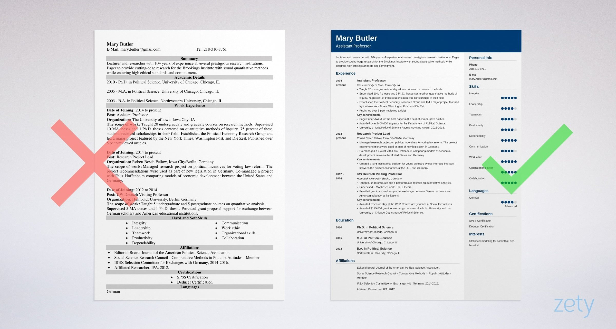 professor resume templates