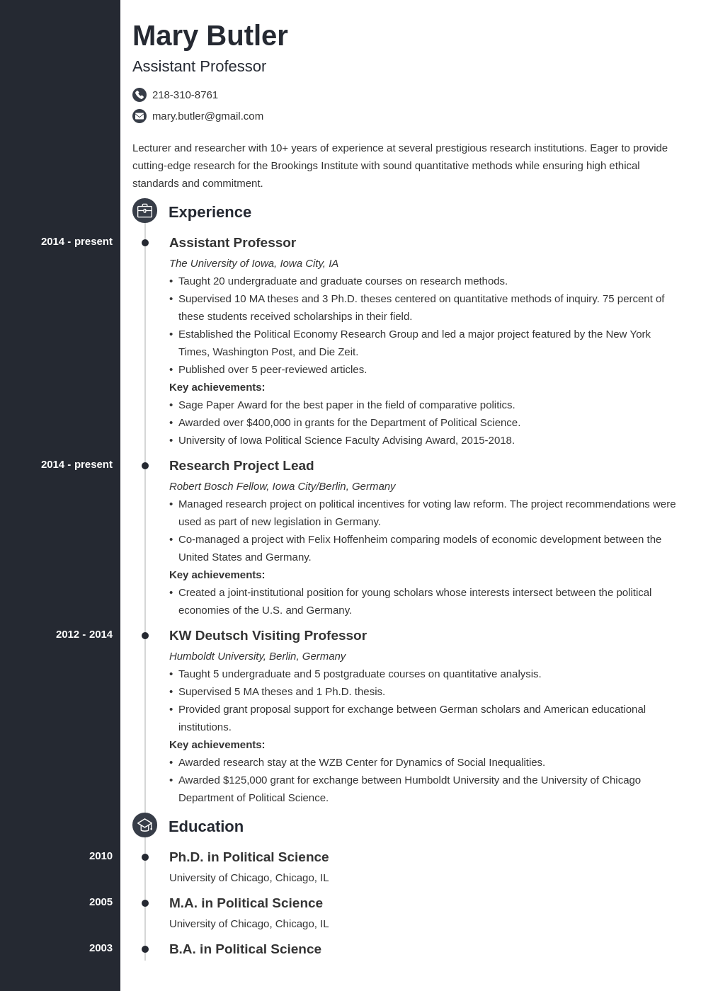 professor resume example template concept