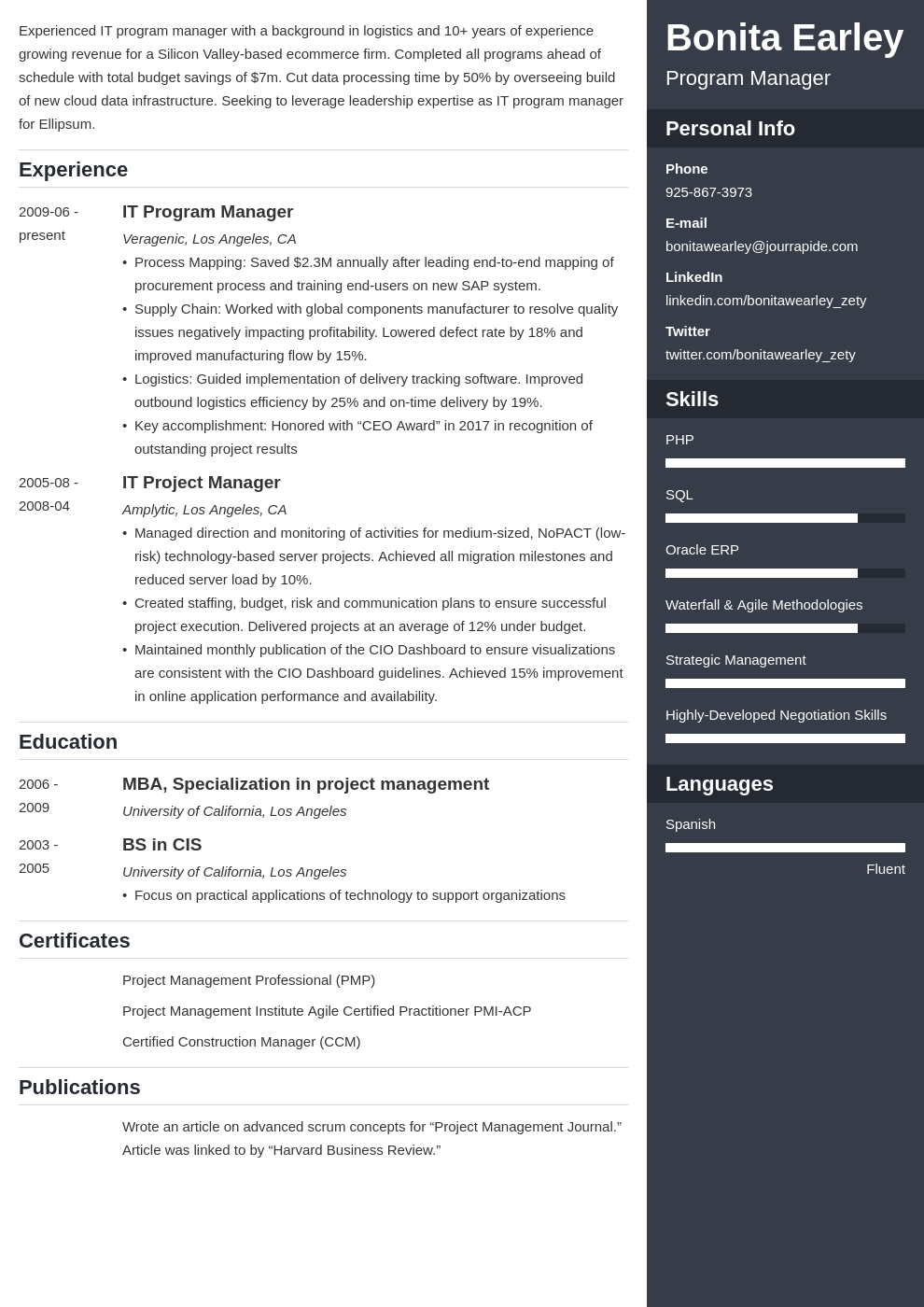 program manager resume example template enfold