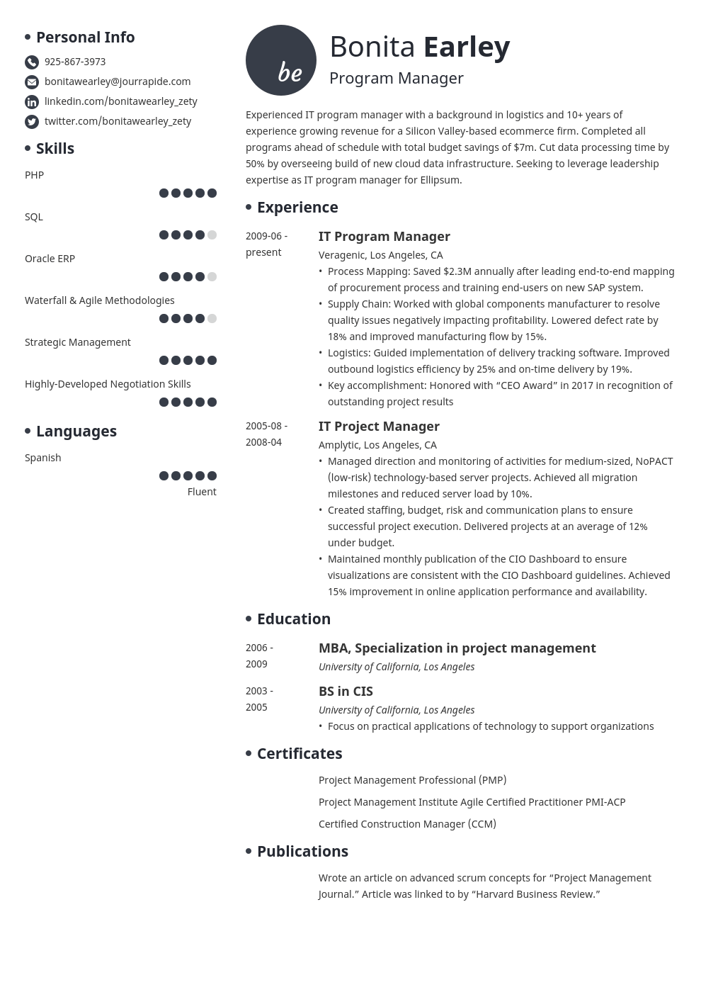 program manager resume example template initials