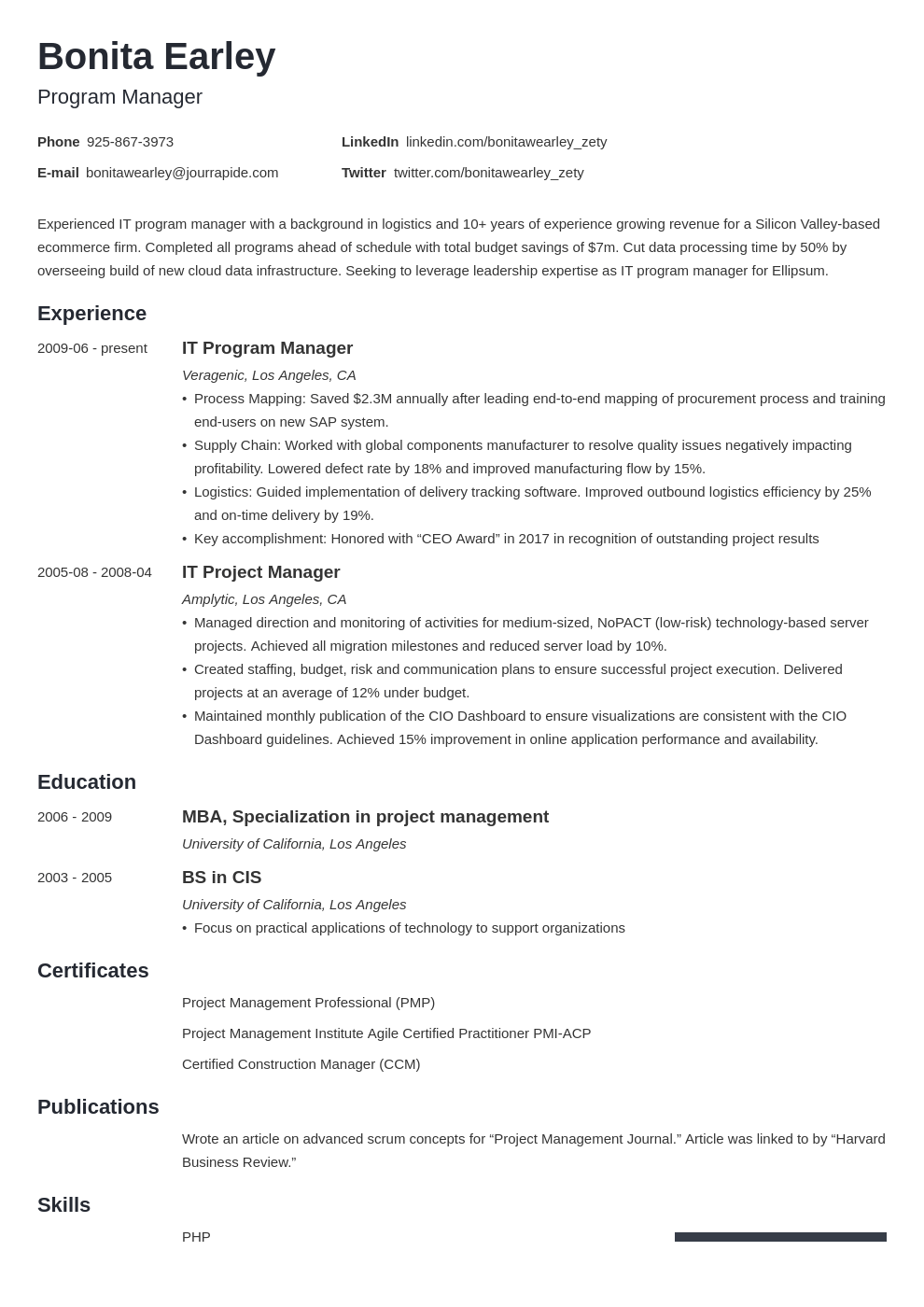 program manager resume example template minimo
