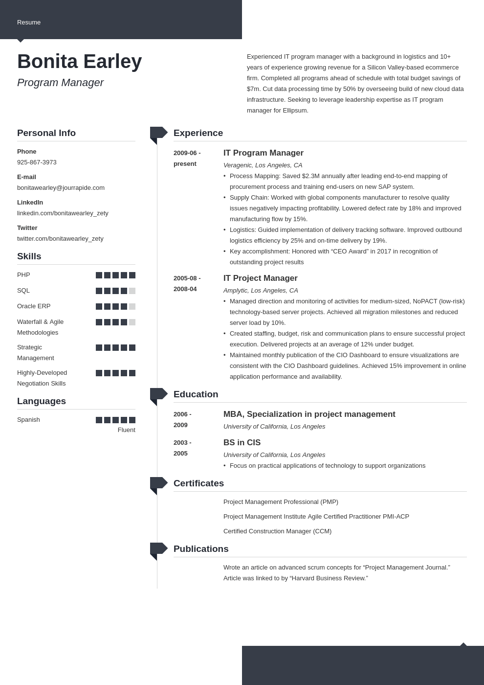 program manager resume example template modern