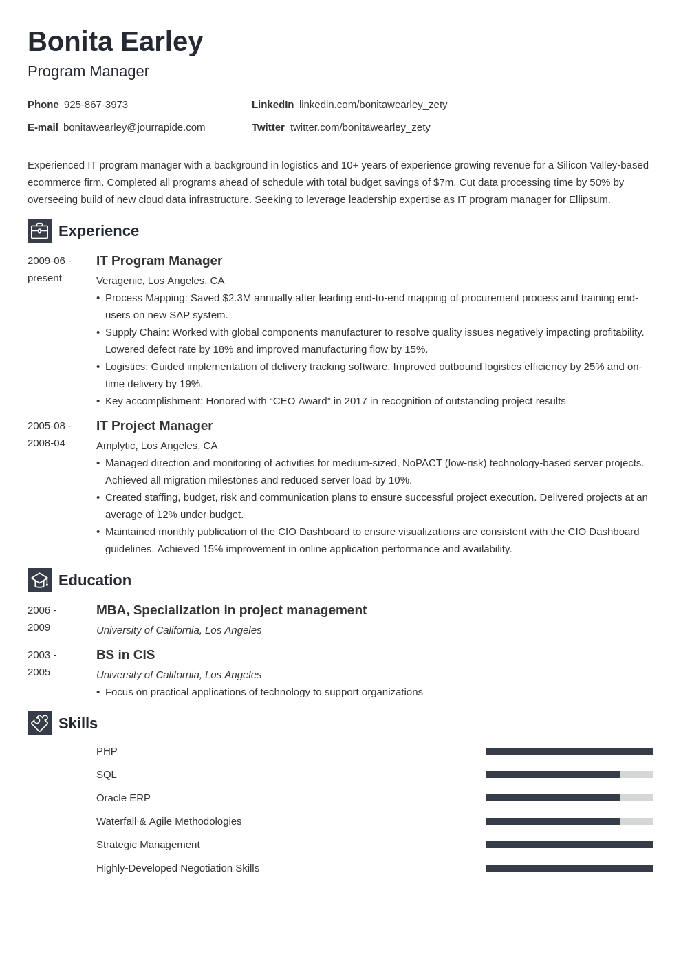 program manager resume example template newcast
