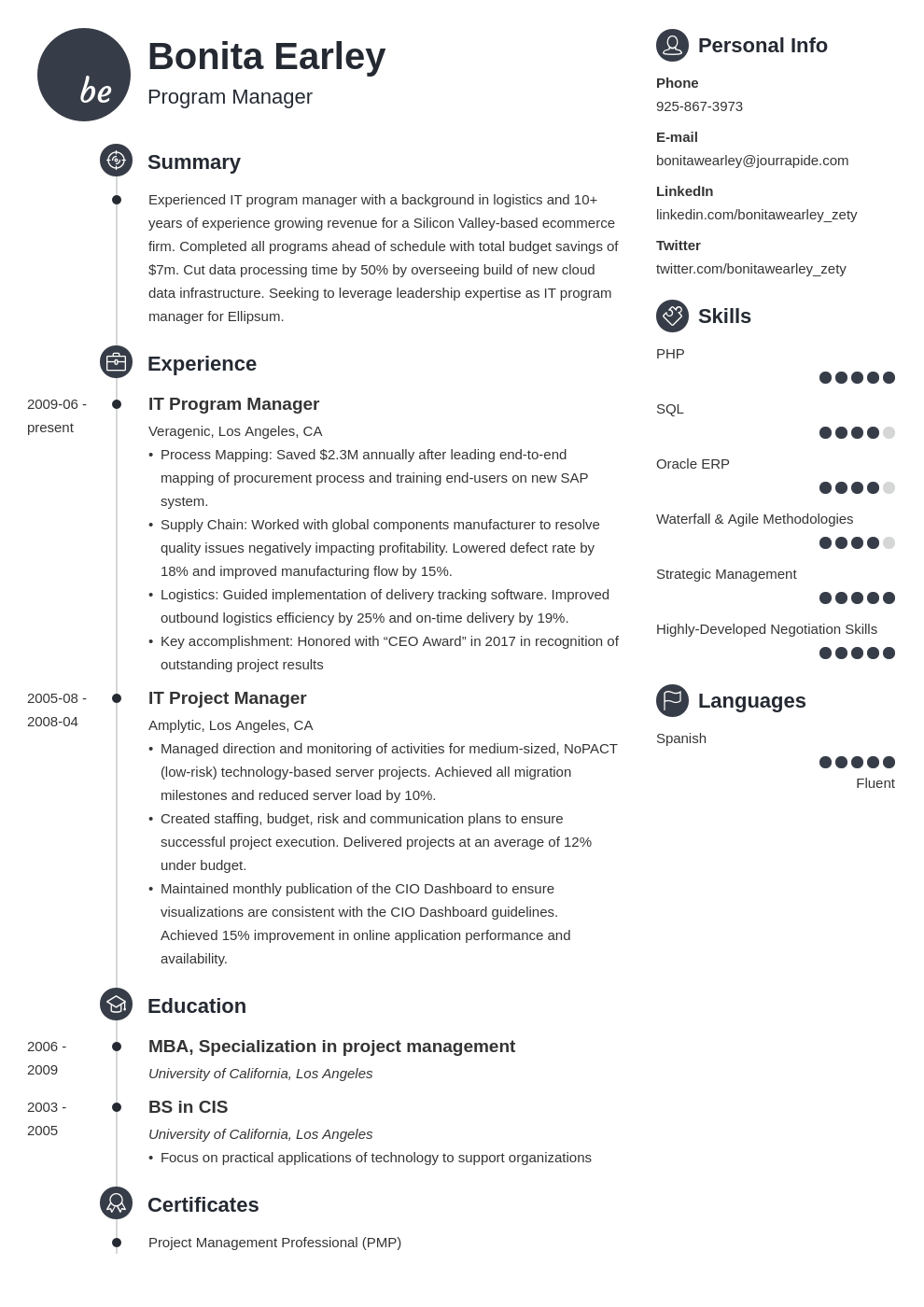 program manager resume example template primo