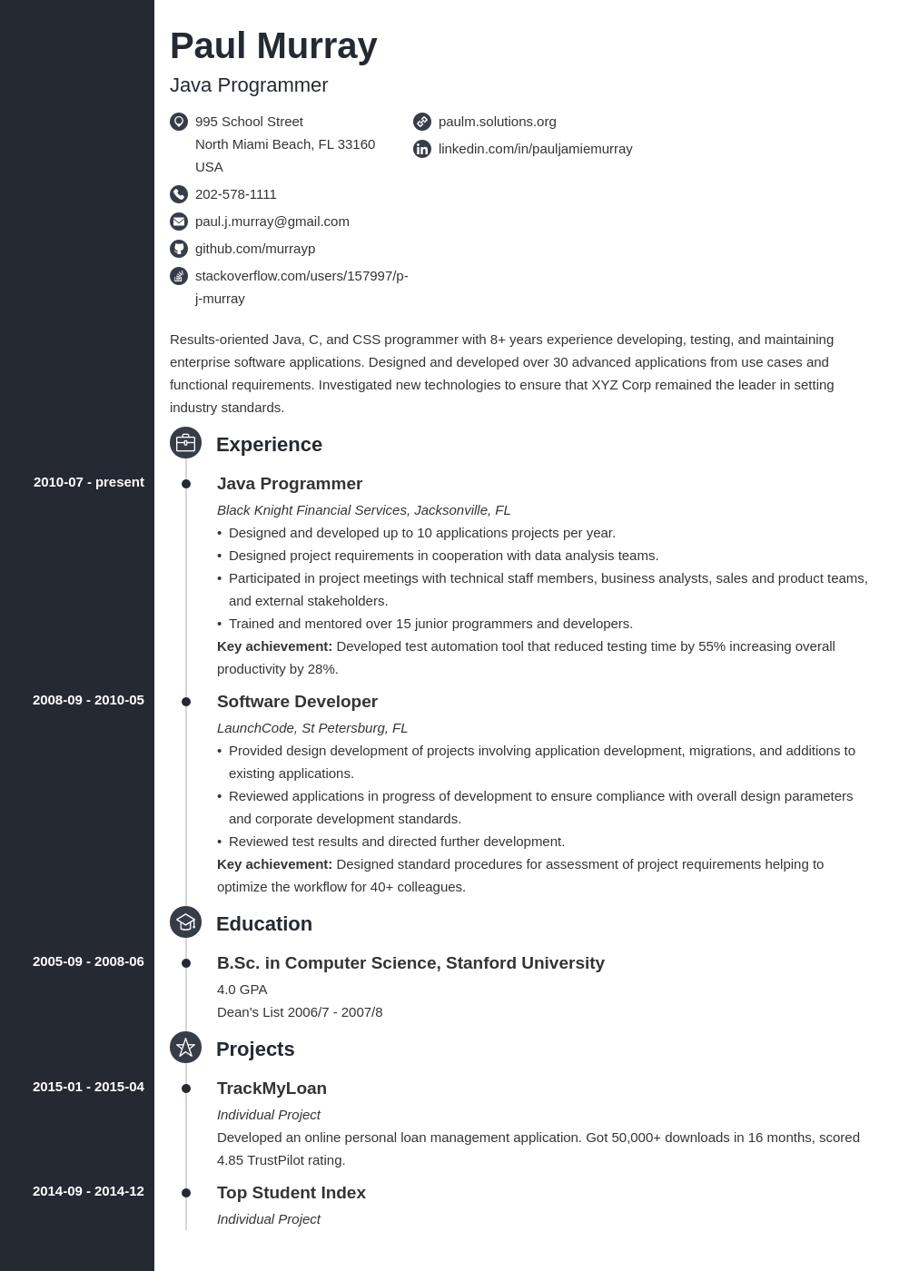 programmer resume example template concept