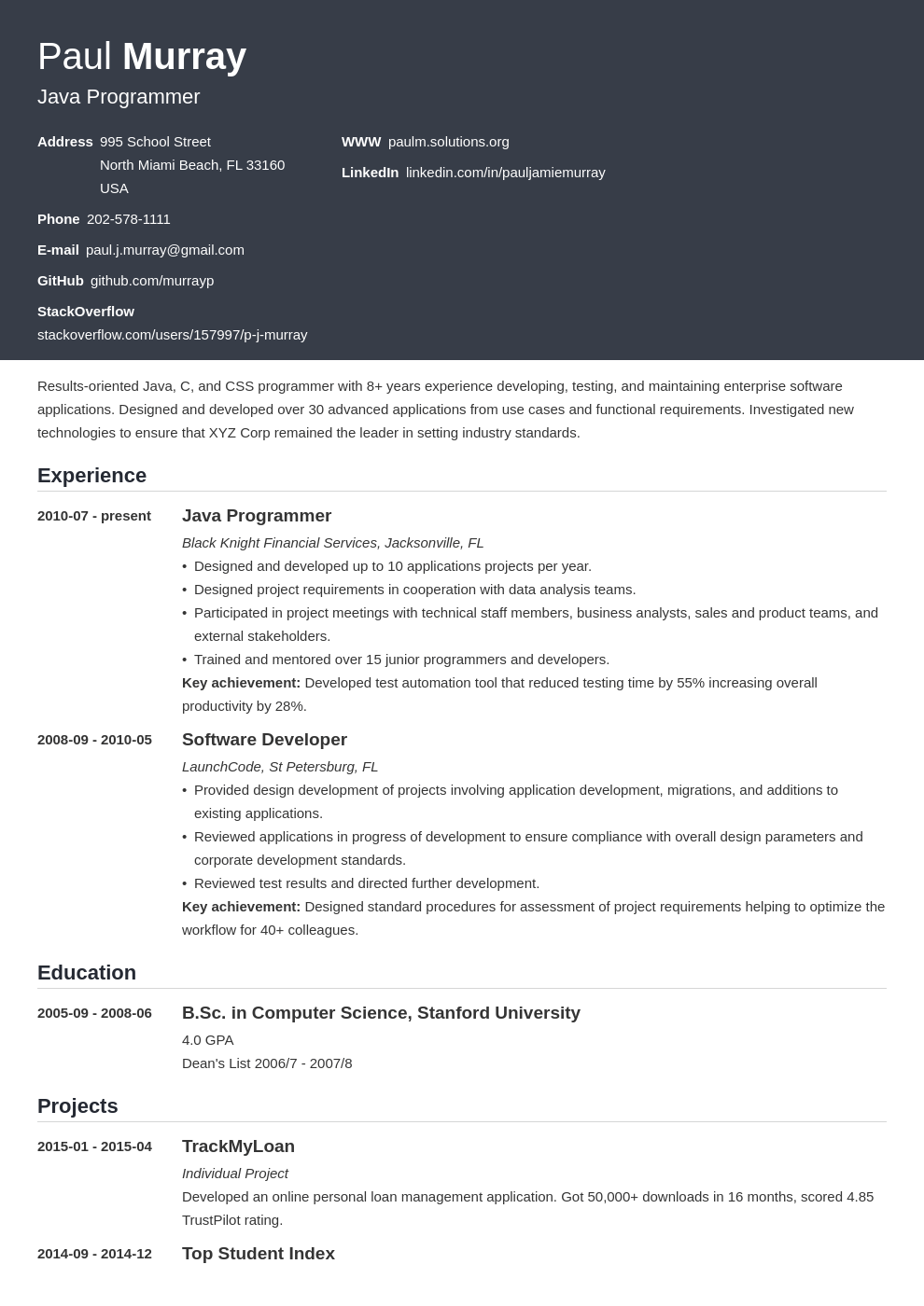 programmer resume example template influx