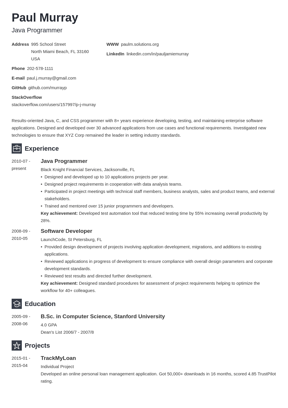 programmer resume example template newcast