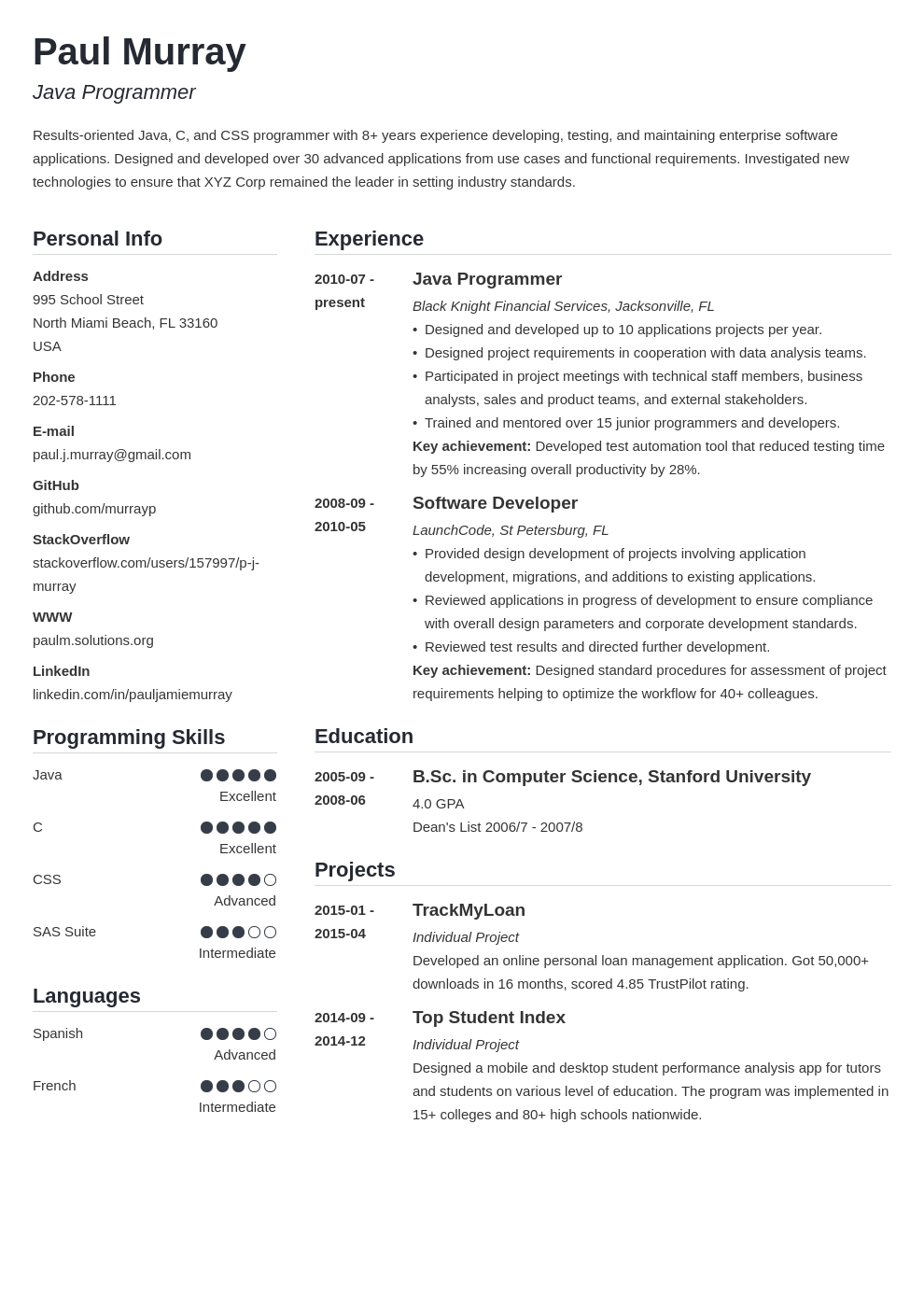 programmer resume example template simple