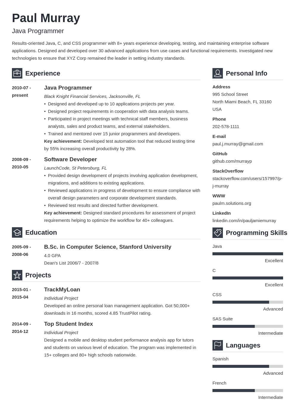 programmer resume example template vibes