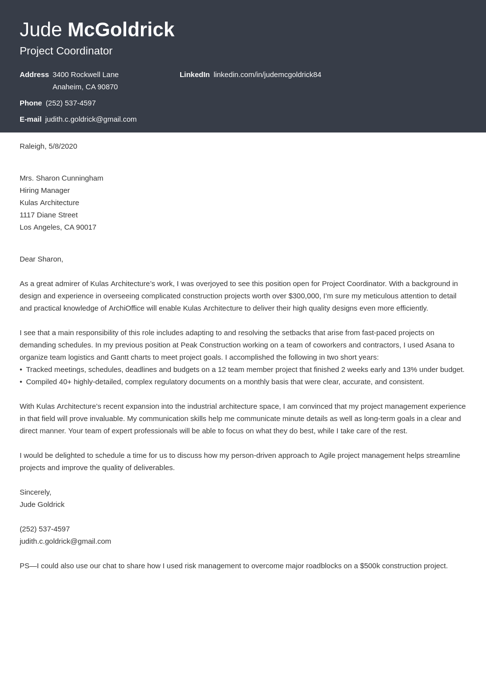 Project Coordinator Cover Letter Samples Writing Guide