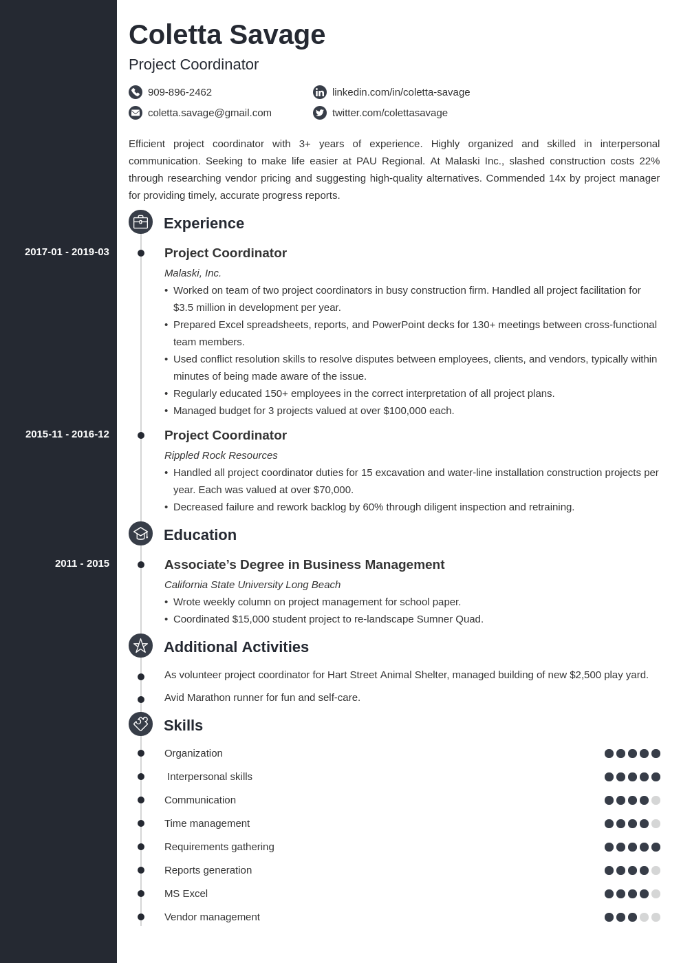 project coordinator resume example template concept