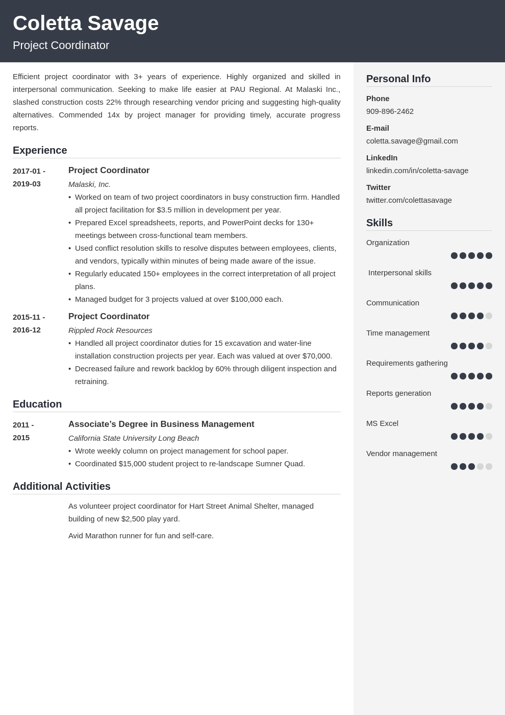 project coordinator resume example template cubic
