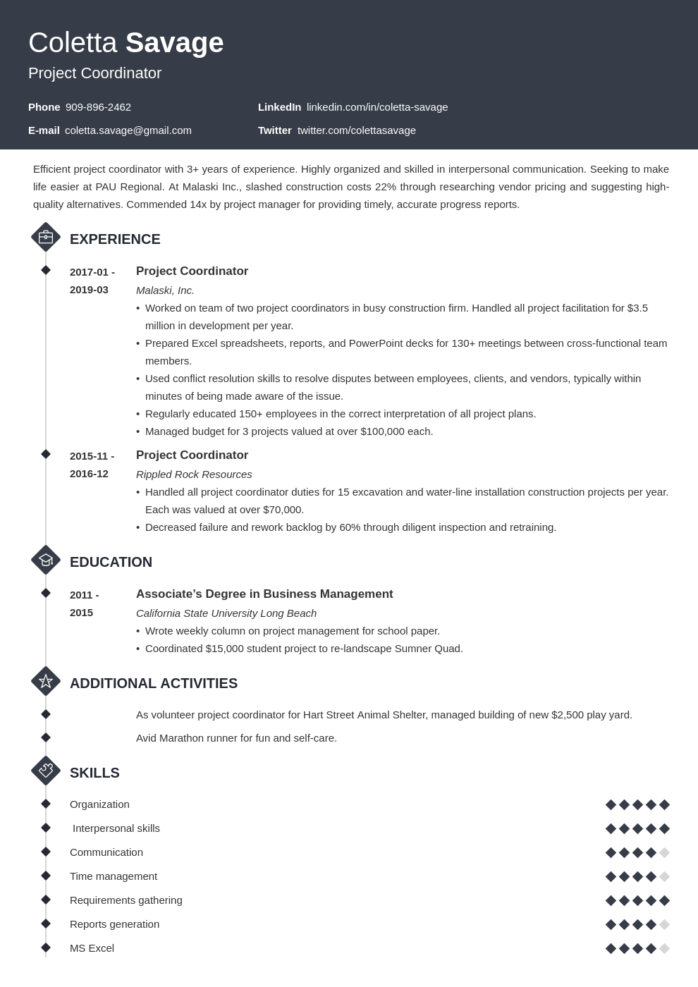 project coordinator resume example template diamond