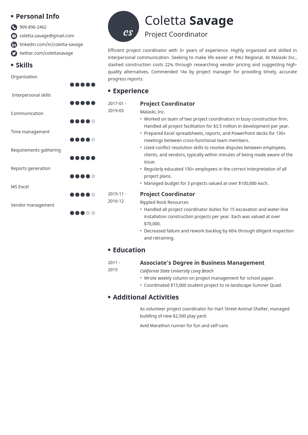 project coordinator resume example template initials