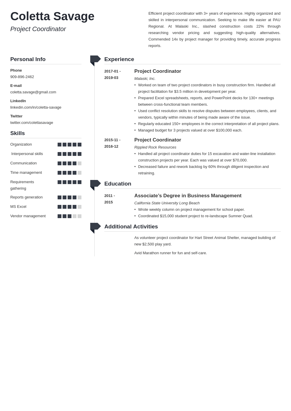 project coordinator resume example template muse