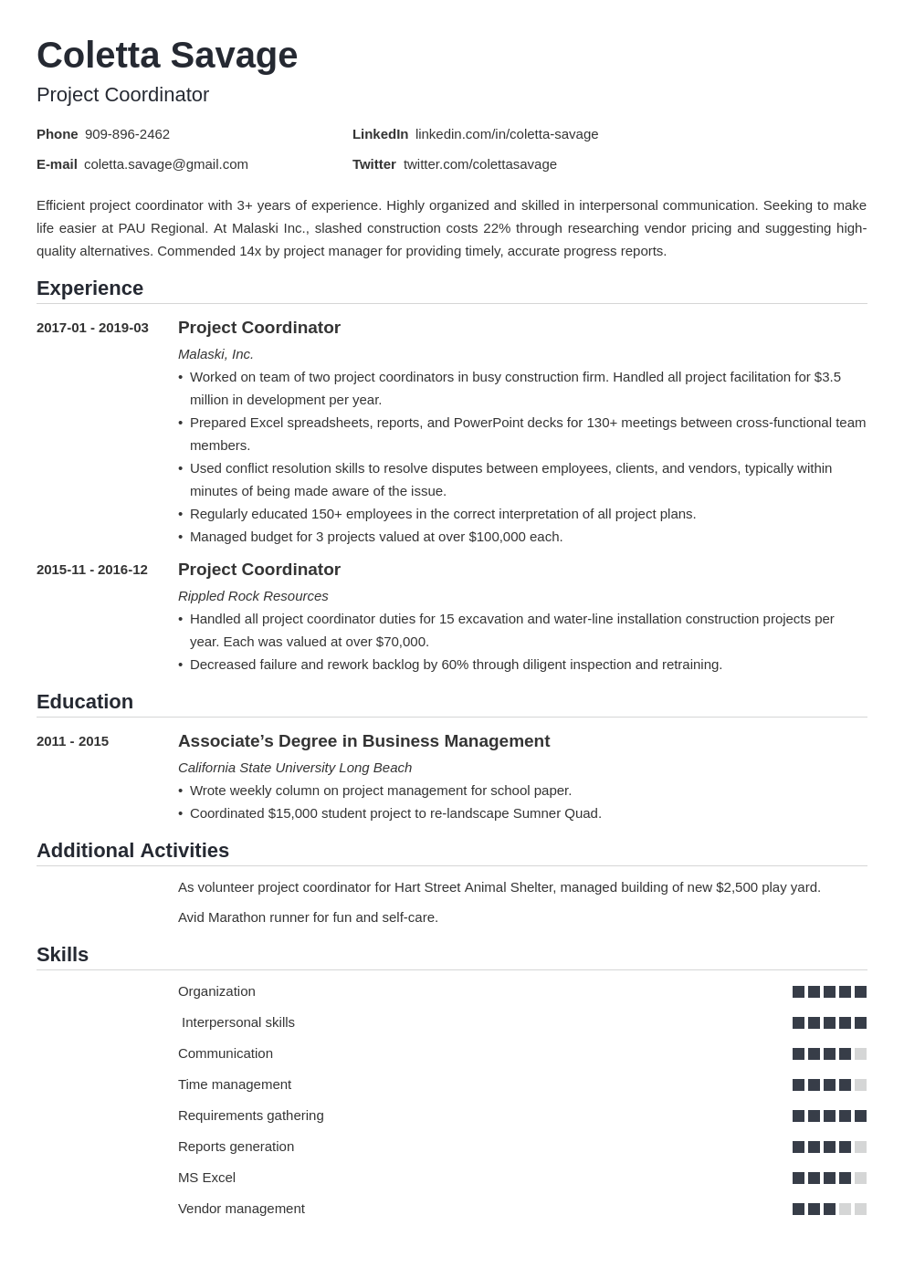 project coordinator resume example template nanica