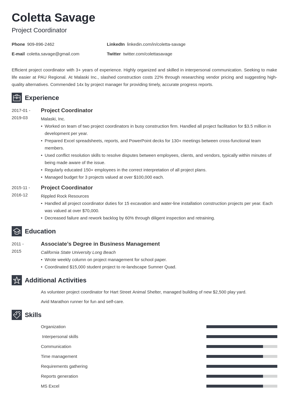 project coordinator resume example template newcast