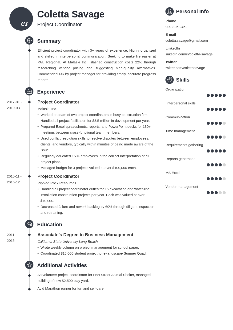 project coordinator resume example template primo