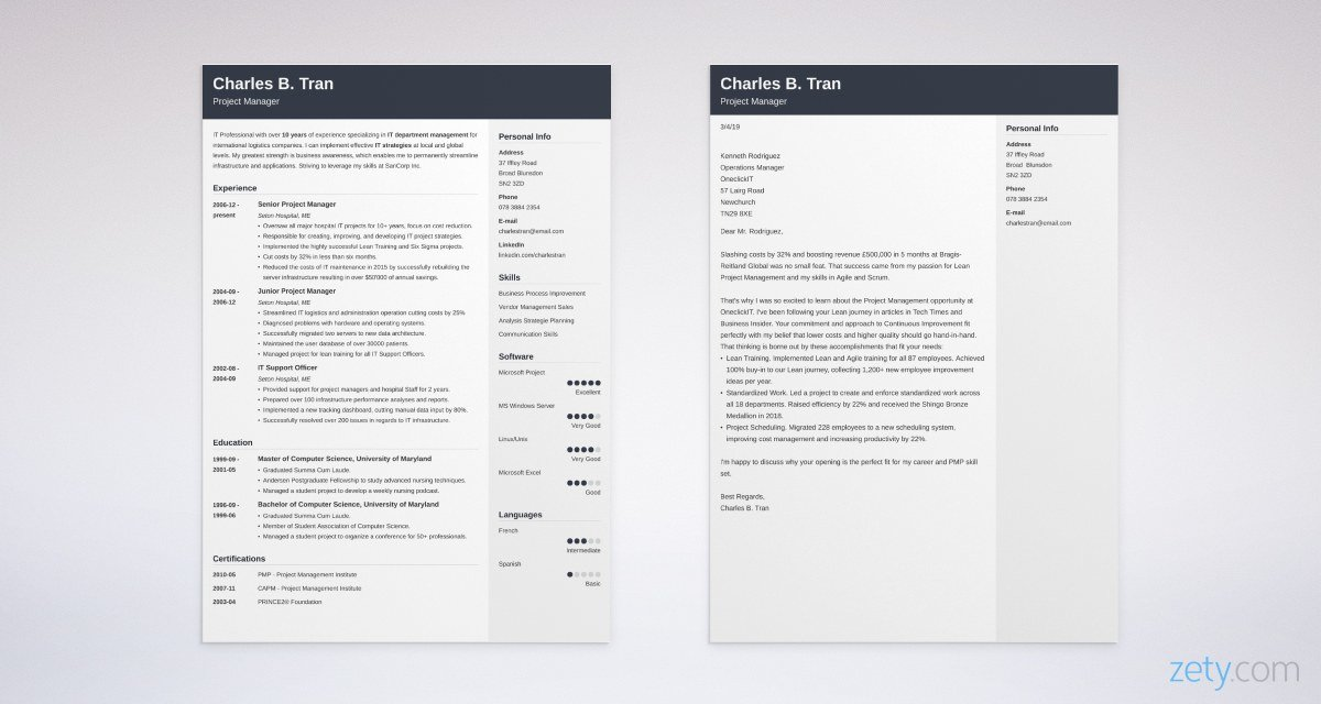 project manager CV and cover letter set