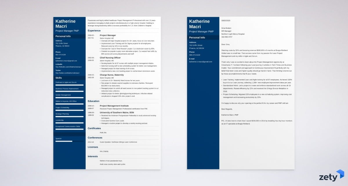 project manager resume and cover letter set