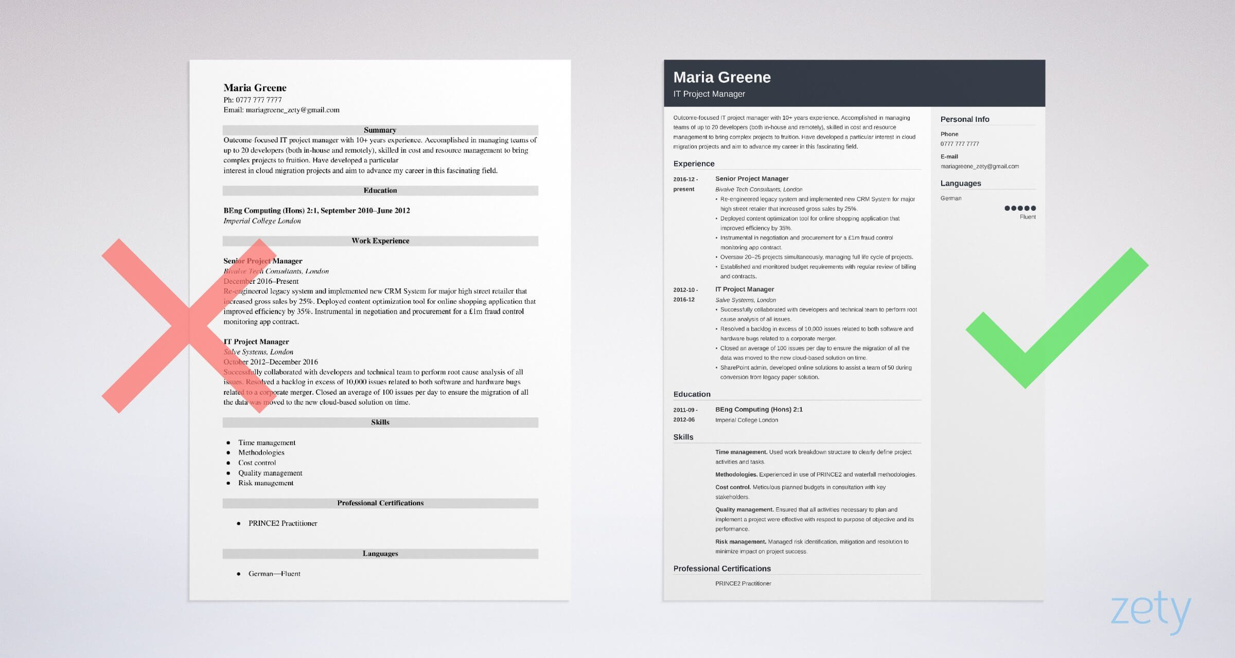 Project Management Cv Example For Project Managers
