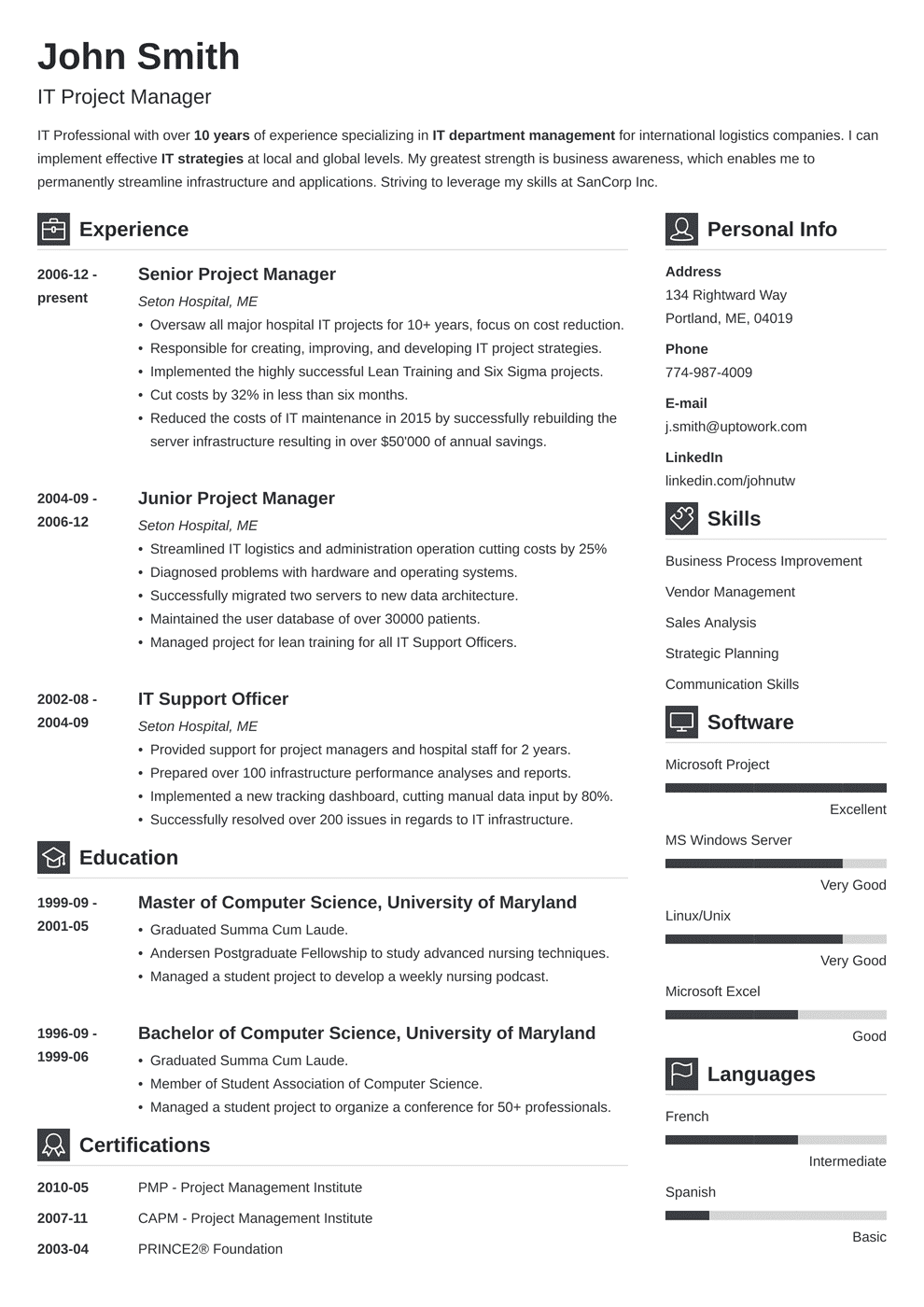 Project Manager Resume Sample Writing Guide 20 Examples