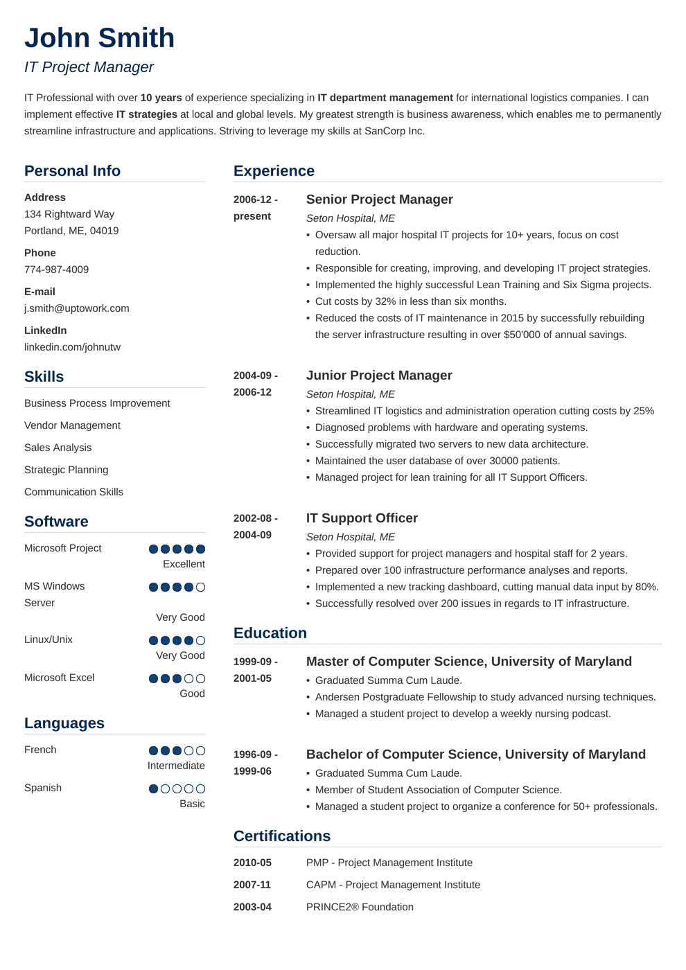 Project Manager Resume Sample Writing Guide 20 Best Examples