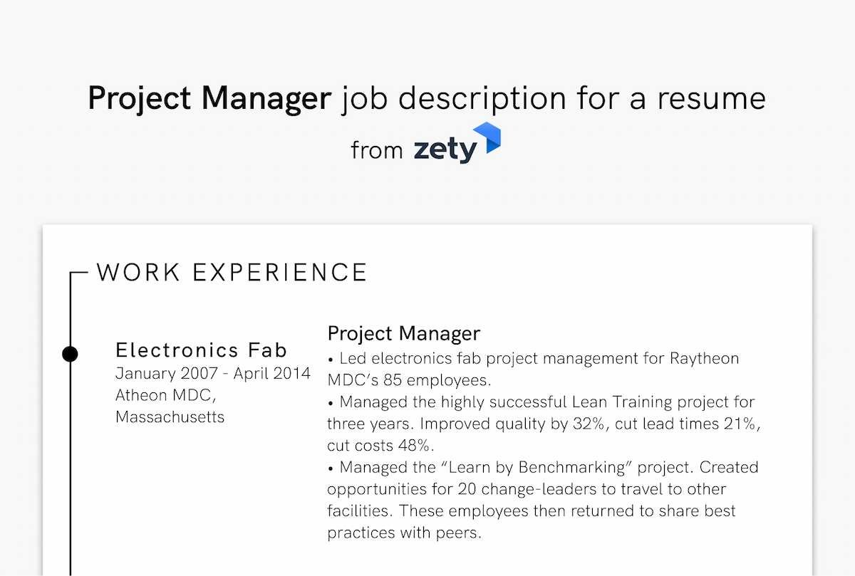 Project Manager job description for a resume